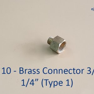 Brass connector three quarter inch to quarter inch type 1