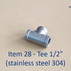 Half inch Stainless Steel 304 Tee